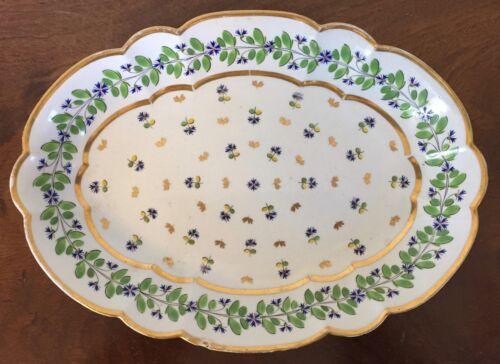 Antique Worcester Flight Barr Porcelain Platter Bowl 19th c. Sprig Cornflower