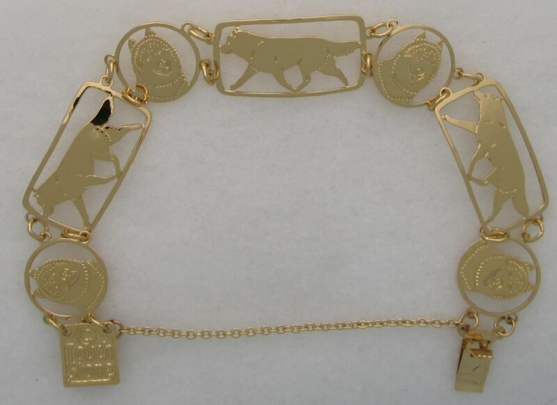 Siberian Husky Jewelry Gold Bracelet by Touchstone
