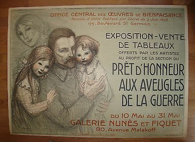 1 of 4 Rare  WWI Poster * French Artist Exposition to Benefit Soldier Families