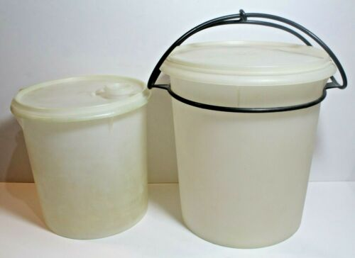 Vintage Tupperware Storage Canisters 255-8 And 254-9 with Lids & 1 Carry Handle