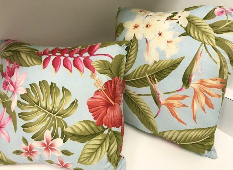 🌺Hawaiian Embellished Hibiscus Bird of Paradise Plumeria Luau Pillows (2) NEW