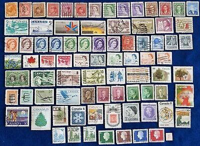 Canadian Stamps Lot of 80+ Used All Different Off Paper Various Denominations