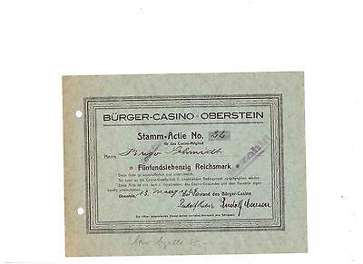 RAR:  Bürger - Casino Oberstein  1926   75RM