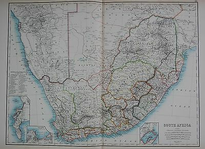 1897 SOUTH AFRICA DURBAN CAPETOWN ELECTORAL DIVISIONS LARGE MAP