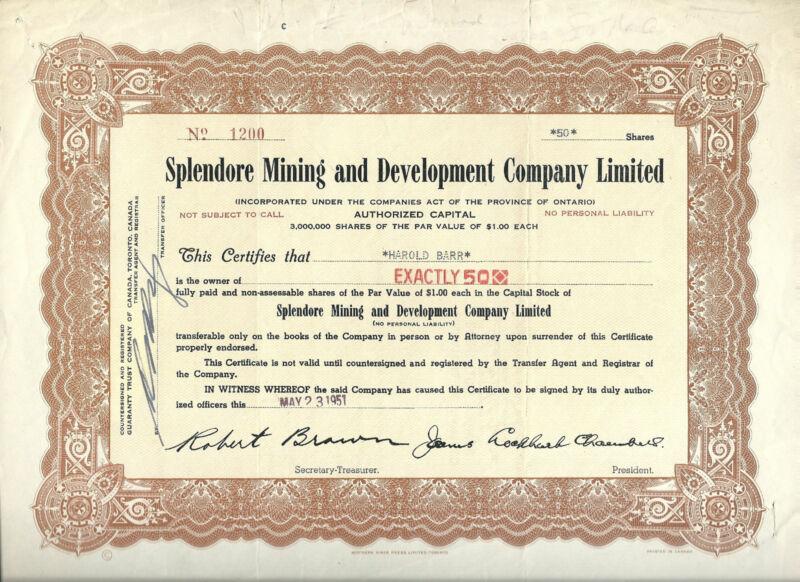 CANADA,Splendore Mining & Development Co Limited Stock Certificate, 1951 Ontario