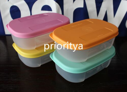 Tupperware Mini Freezer Mates 140mL Set of 4 Clear Container w/ Multi Seals New