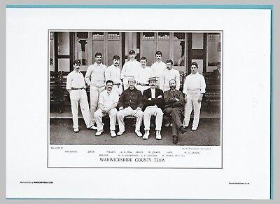 CRICKET  -  UNMOUNTED CRICKET TEAM PRINT - WARWICKSHIRE - 1895