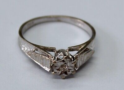 VINTAGE 18CT WHITE GOLD  SINGLE DIAMOND RING SIZE L