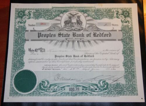 1930 Peoples State Bank Of Redford Michigan 2 Shares $100 Each RARE
