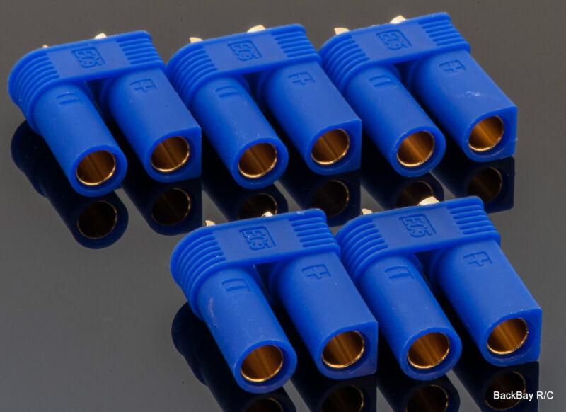 5 Pack: EC5 Female / 5MM Bullet Connectors Pre-Installed in Plastic Housing