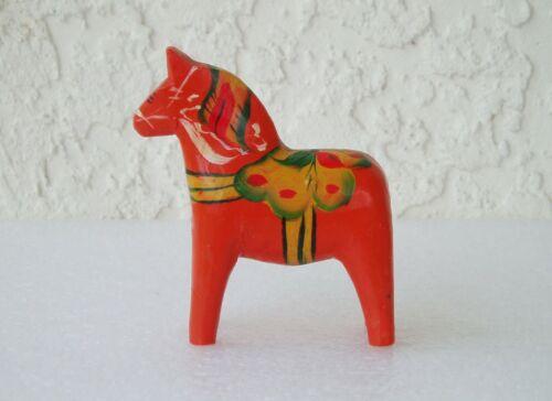 """Vintage Miniature Akta Dala Horse Swedish 3"""" Hand Carved Painted Wood Folk Art"""