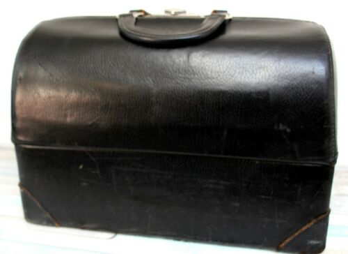 Antique Vintage BLACK GENUINE LEATHER TOP HANDLES HARD SHELL PANDORA DOCTORS BAG