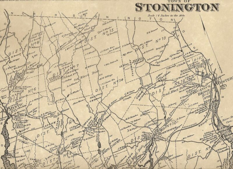 Stonington Pawcatuck CT 1868 Maps with Homeowners Names Shown