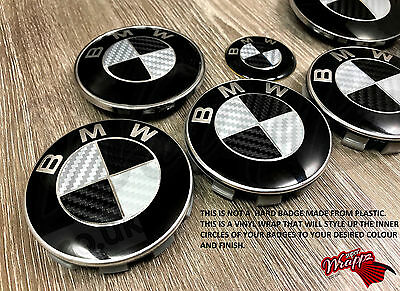 BLACK  SILVER CARBON FIBER Badge Overlay FOR BMW HOOD TRUNK RIMS FITS ALL BMW