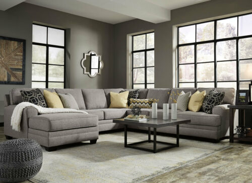 Merida Sectional Living Room Couch Set - 5pcs New Large Gray Fabric Sofa Chaise