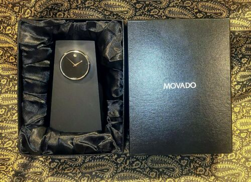 Movado Museum Face Black Crystal Table / Desk Clock Model TBL000149M