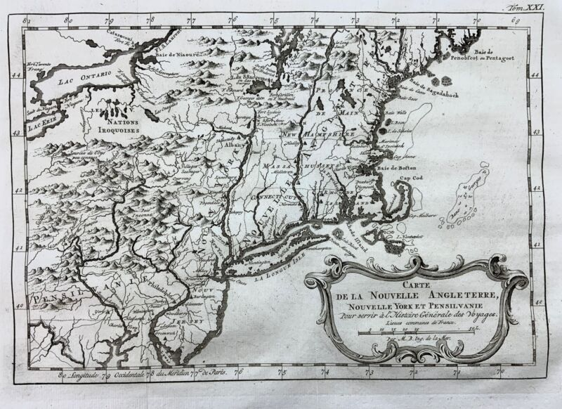1773 Bellin, J. N.; Map of New England, New York and Pennsylvania United States
