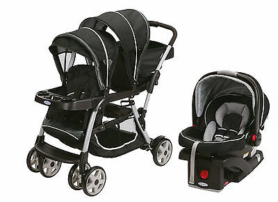 Graco Ready2Grow LX Duo Double Baby Stroller + Car Seat Travel System, Gotham
