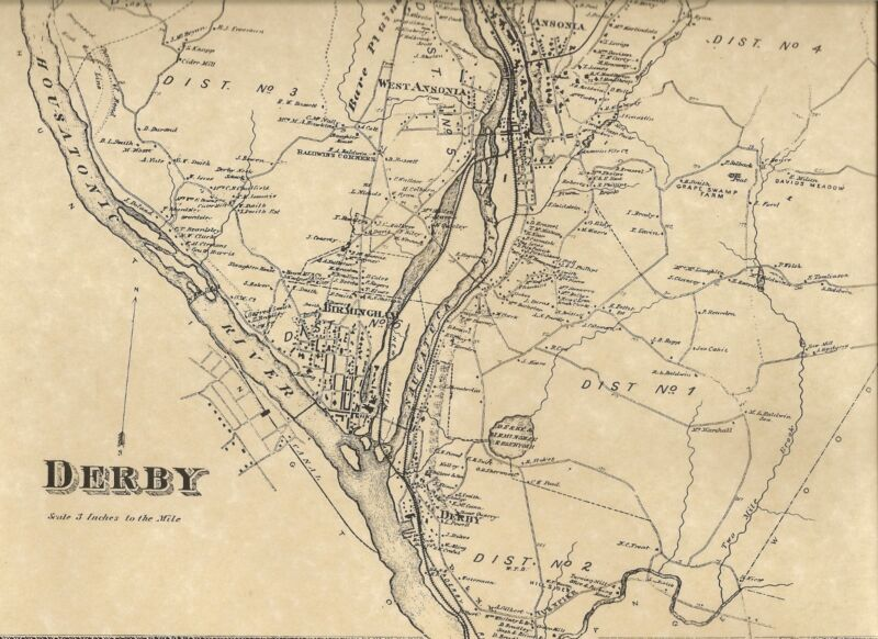 Derby CT 1868 Maps with Homeowners Names and Business Directories Shown