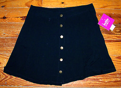 Up School Girl Skirts (New! Girls BY BY GIRL Solid Black Rayon Button Up School Skirt Size Large)