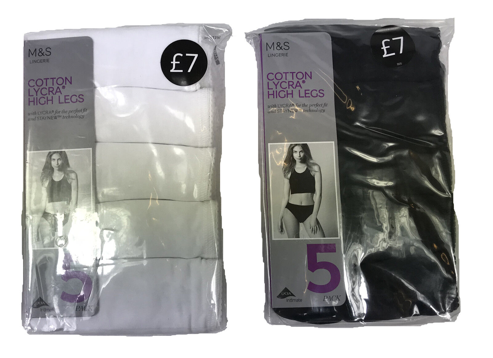 M/&s 5-pack Cotton Rich High Leg Knickers Improved Fabric UK 10