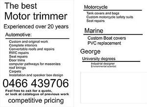 MOTOR TRIMMER/ AUTO UPHOLSTERER Essendon North Moonee Valley Preview