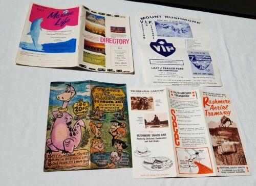Lot Vintage SOUTH DAKOTA Travel Brochure 1960s Flintstones Bedrock City Rapid