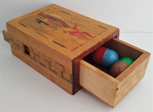 Vintage Japanese Wooden Hidden Drawer Puzzle Box Inlaid Spring Catch