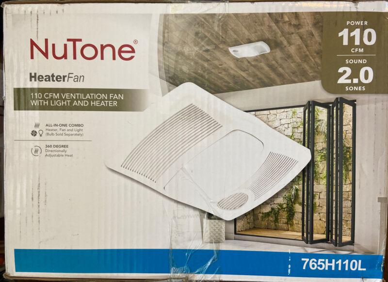 NuTone 110 CFM Bathroom Exhaust Vent Fan with Light & 1500-Watt Heater 765H110L