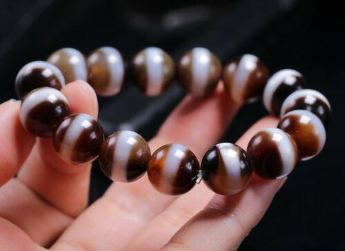 Energy Tibetan Old Agate 1 Line Healer Medicine Round dZi Bead Bracelet 14MM