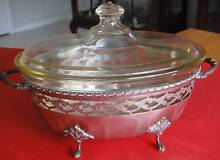 Vintage Baking Dish on Silver Plate Server Stand. Wavell Heights Brisbane North East Preview