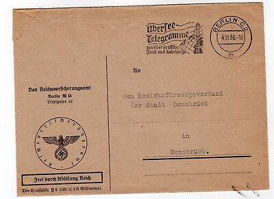 Germany 1936 stampless freepost official  envelope from Berlin