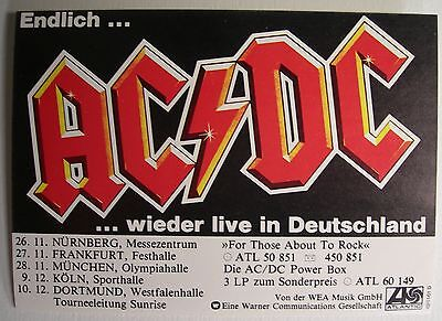 AC/DC FOR THOSE ABOUT TO ROCK GERMAN PROMO STICKER 1982 RARE