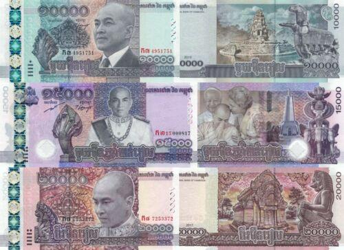 Cambodia 3 Note Set: 10000, 150000 & 20000 Riels (2015-2019) - p70/p68/pNew UNC