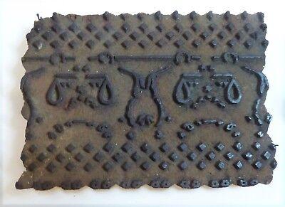 Vintage Carved Wood Textile Fabric Batik Print Block Stamp Size 6.5 X 4.5 X 1.5