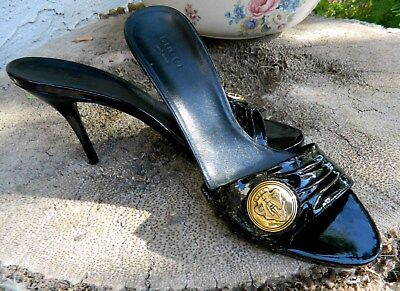GUCCI BLACK PATENT LEATHER SLIP ON HEELS VINTAGE 7.5 GORGEOUSO! CREST MEDALLION
