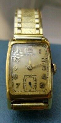 WW2 Hamilton 14k Solid gold Case 19 jewel Movement 982 . Holds Time . WindUp
