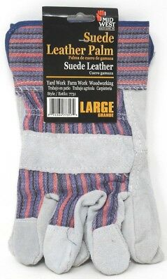 - Midwest Gloves Suede Leather Palm Light Duty Yard Farm Woodworking Gloves Large