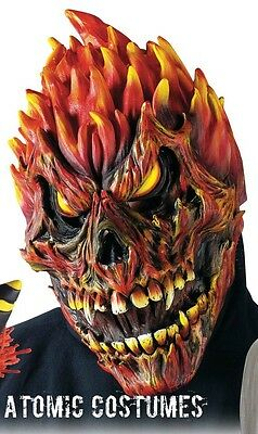 Halloween Red Skull Mask (Flame Devil Mask Halloween Fire Skull Red Skeleton Scary Creepy Monster)