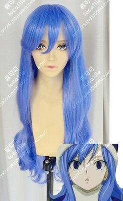 Juvia Lockser Halloween (Fairy Tail Juvia Lockser Blue Costume Cosplay Wig Christmas Halloween)