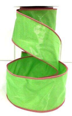 Pink Organza Satin Edge Ribbon - Satin Wired Green Ribbon~Organza Overlay~Stitched Pink Edge~2 1/2