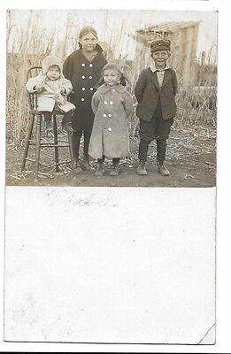 c. 1910 Real Photo Postcard RPPC ~ Four Children from Hutchinson, Kansas