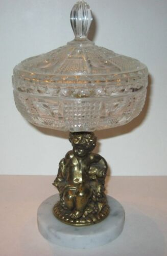 Vintage Cherub Crystal Candy Bowl with Marble Base Western Germany