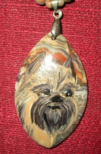 Brussels Griffon hand-painted on marquis cut gemstone pendant/bead/necklace