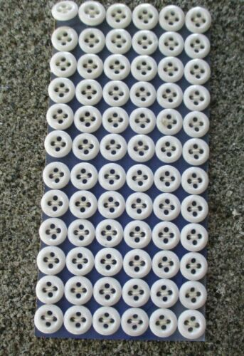 """card of 72 Vintage 3/8"""" 4 hole White underwear Glass  Buttons ~ new/old stock"""