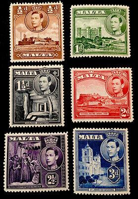 Malta King George VI 1938/43 MINT x6 stamps MLH