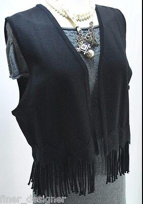 Maggy London Black fringe tassel Knit sleeveless Vest knit top sweater SZ M New