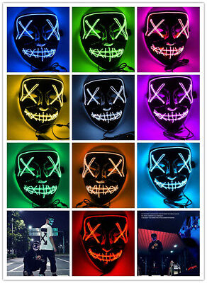 LED Mask Glow Full Face Mask EL Wire Light Up Mask Cosplay Rave Club Party Xmas](El Wire Cosplay)