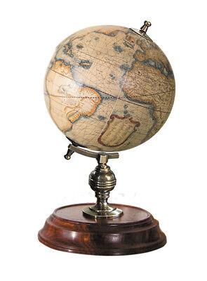 "Desktop Globe Mercator 1541 Old World Terrestrial 7.75"" Brass & Wood Stand New"