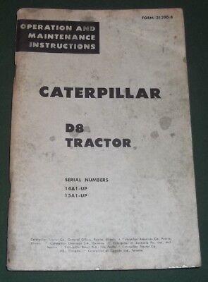 Cat Caterpillar D8 Tractor Dozer Operation Maintenance Manual Book 14a 15a